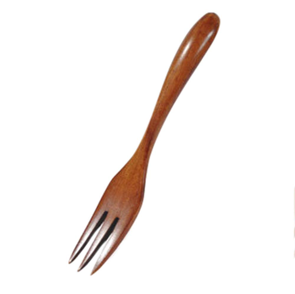 YJYDADA Spoon,Wooden Spoon Fork Bamboo Kitchen Cooking Utensil Tools Soup-Teaspoon Tableware (Brown)