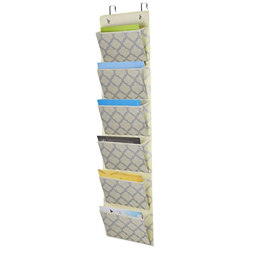 Over the Door Hanging File Organizer, Office Supplies Storage Folder Holder Wall Mount for Home Organization, School Pocket Chart, Office Bill Filing,6 Pockets Beige