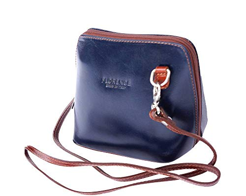 - LaGaksta Small Flat Handmade Italian Leather Crossbody Bag Purse Clutch Blue-Brown