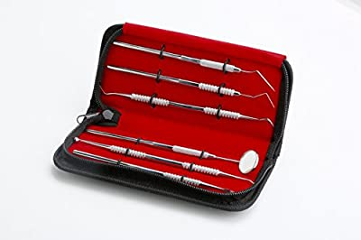 #1 Essential Dental Hygiene Kit 6 Pcs By Marks Gouger ? Personal Tarter Scraper - Scaling Instrument, Toothpick & Oral Mouth Mirror ? Effective Way to Maintain Your Oral Hygiene Between Dental Visits