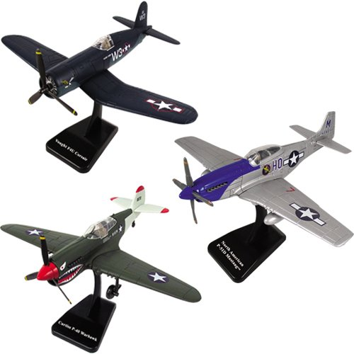 InAir SMITHSONIAN E-Z Build 3pc Set - P40 Warhawk, P51 Mustang and F4U Corsair - 1:48 Scale