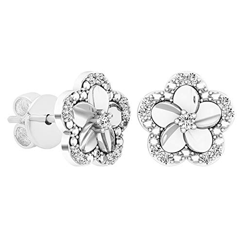 Dazzlingrock Collection 0.10 Carat (ctw) Round Diamond Ladies Cluster Flower Shaped Stud Earrings 1/10 CT, Sterling Silver (Diamond Flower Earrings)