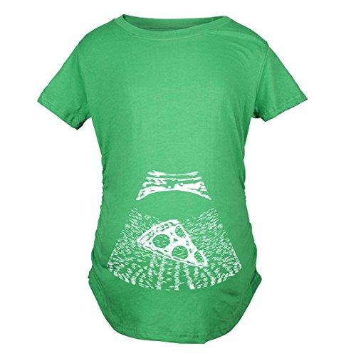 Crazy Dog TShirts - Maternity Ultrasound Pizza Funny T shirt Cheap Pregnancy Shirts Cool Novelty (Green) S - damen - S