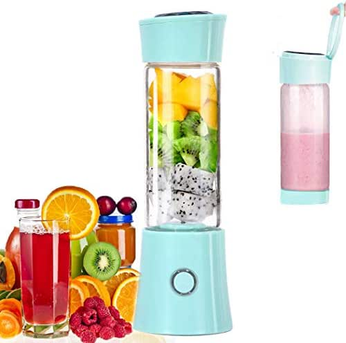 Portable Mini Blender, Juicer Blender Smoothie Maker with 3D 6 Blades,USB Rechargeable Juice Mixer 100W 480ML Mini Personal Fruit Blender for Home,Office,Sports,Travel, Outdoors