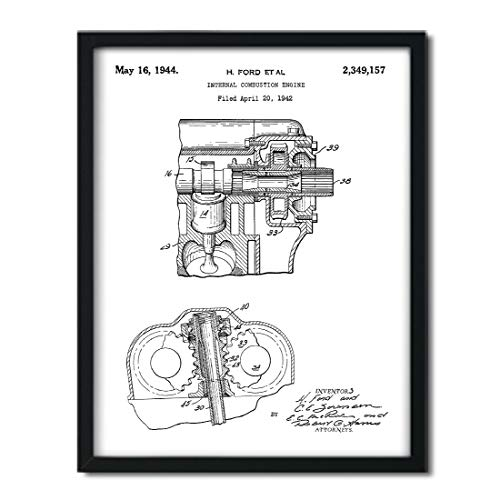 (Andaz Press Unframed Modern Black Patent Print Wall Art Decor Poster, 8.5x11-inch, Planes, Trains, Automobiles, Internal Combustion Engine Poster, 1-Pack, Car Part Poster, Tank Engine, Henry Ford)