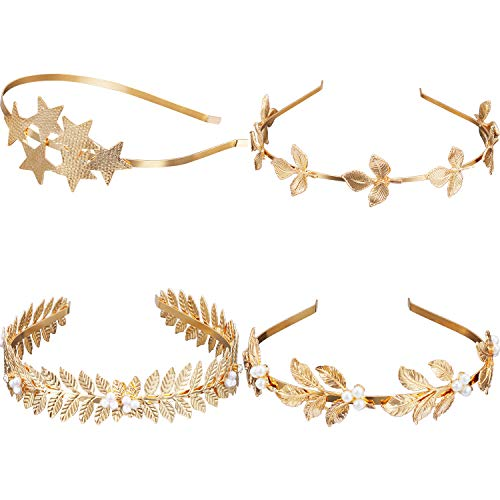 Blulu 4 Pieces Goddess Leaf Headband Star Bridal Hairband with Faux Pearl for Wedding Party, Gold Color -