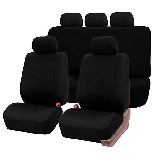 FH-FB051115 Multifunctional Flat Cloth Car Seat Covers, Airbag compatible and Split Bench, Solid Black color
