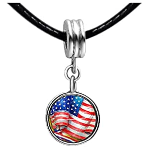 Chicforest Silver Plated Patriotic flag Independence Day Photo Red Zircon Crystal July Birthstone Flower dangle Charm Beads Fits Pandora Charm