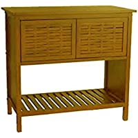 Bamboo Basketweave Console Table-2 Shelves