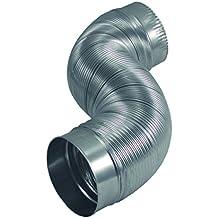 """Deflecto Aluminum Duct with Connectors, Semi Ridgid, Flexible , 4"""" x 2', Silver (AM42)"""