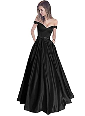 Jazylynbride 2018 Women's Satin Off The Shoulder Sweetheart Prom Evening Dress With Pockets