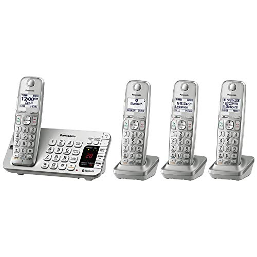 Panasonic Link2Cell Bluetooth Cordless DECT 6.0 Expandable Phone System with Answering Machine and Enhanced Noise Reduction - 4 Handsets - KX-TGE474S (Silver) (System Phone Bluetooth Panasonic)