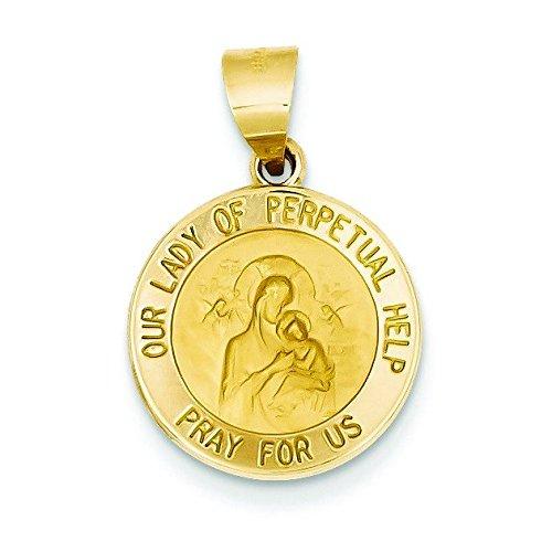 Satiné poli 14 carats et Notre Dame de Perpetual aide Médaille-JewelryWeb