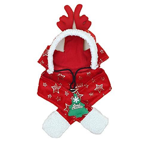 (ETbotu Christmas Tree Star Sparkling Printed Hat&Scarf Detachable Warm Headwear Year Christmas Decorations Pet Accessories red XXL)