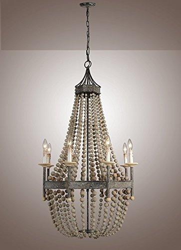 Iron Frame Wooden Rustic Scalloped Wood Bead Regina Chandelier Lamp 8 Lights H50 X W32 Large Ceiling light Fixture Pendant
