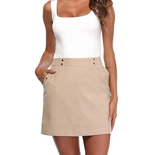 andy & natalie Work Khaki Skirts for Women, Mini Skirt Slant Pocket Zip Back Short Skirt ()