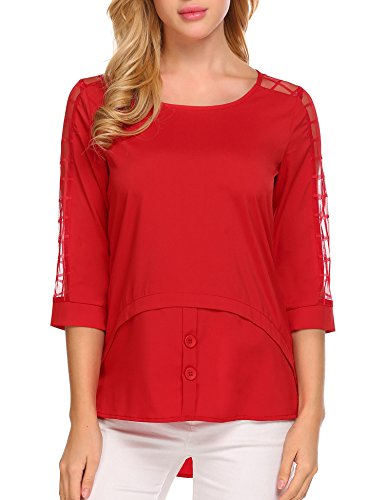 SummerRio Women's Casual Loose Hollowed Out Shoulder Three Quarter Sleeve Shirts
