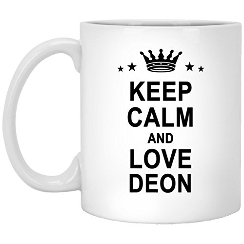 Deon Name Gifts - Keep Calm And Love Deon Large Coffee Mug - Personalized Anniversary Gift For Men Women Birthday Christmas Gag Gift Tea Cup White Ceramic 11oz