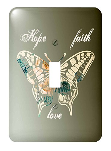 3dRose lsp_155872_1 Hope, Faith and Love Gold Butterfly Inspirational Art - Single Toggle ()