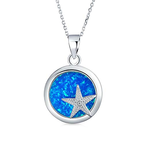 - Round Circle Disc Nautical Ocean Lover Blue Created Opal Inlay Starfish Pendant Necklace For Women 925 Sterling Silver