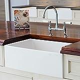 white kitchen sinks Mayfair SW1 30 Inch Kitchen Farmhouse Sink - Fireclay. White.
