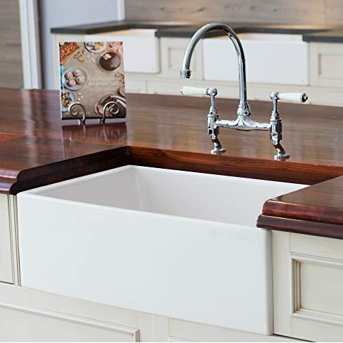 Mayfair SW1 30 Inch Kitchen Farmhouse Sink – Fireclay. White.