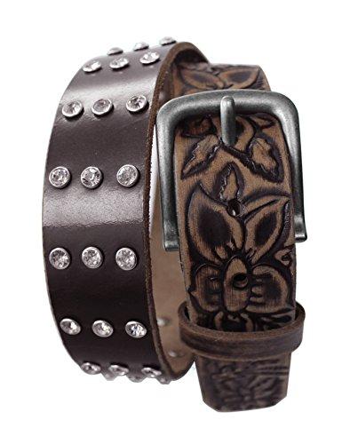 Leather Bke (LWFEB - Ladies Western Rhinestone Studded & Embossed Floral Distressed Pattern Full grain Leather Belt (M (fits 34
