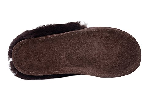 W73 Pantoufles De Femmes Vogar Rusnak Mouton Manchette Double Peau Chaud Chaussons Avec Marron Luxe Laine TxxYOwICq
