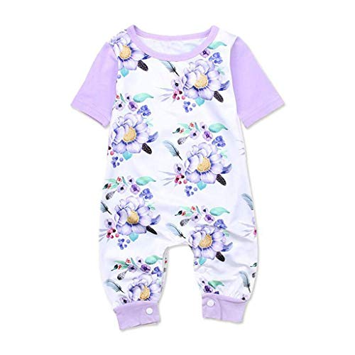 - Fashion Toddler Baby Girls Floral Cotton Short-Sleeve Romper Jumpsuit Summer Soft One-Piece Clothes Outfits Purple 12-18 M