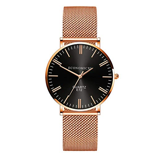 Men Women Quartz Analog Watch Stainless Steel Mesh Small Dial Luxury Casual Business Watches Gift (Black, Free size) (Best Guitar Amp Sim 2019)