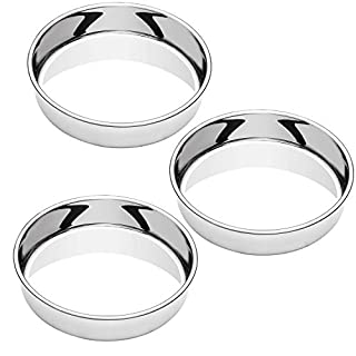 WEZVIX Stainless Steel 10 Inch Cake Pan Set of 3, Round Cake Pans for Oven Baking, Dishwasher Safe & Mirror Finished, Easy Release & Even-Heating