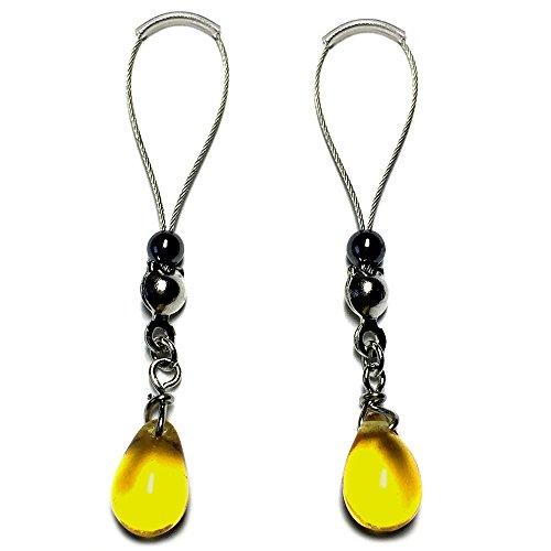 BoDivas Nipple Noose Czech Drops Non Piercing Body Jewelry Rings (Neon ()