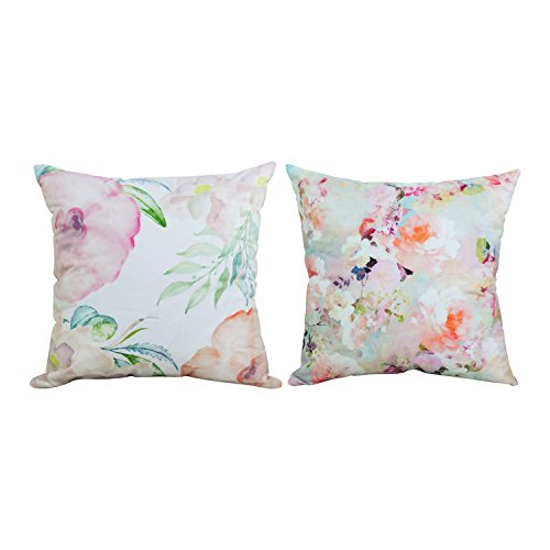 Floral Square Pillow (BLEUM CADE Square Throw Pillow Case Decorative Cushion Cover Pillowcase Cushion Case Peonies Throw Pillow Covers Watercolor Floral Flower Decorative Pillow Case for Sofa Bed Chair Set 2, 18 x 18)