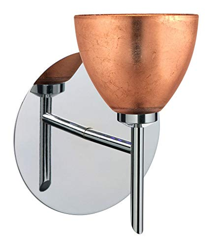 Besa Lighting 1SW-1758CF-CR Divi - One Light Mini Wall Sconce, Chrome Finish with Copper Foil Glass
