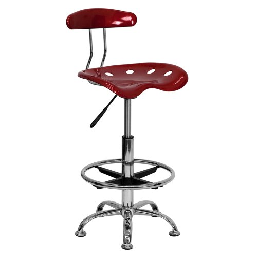 (Flash Furniture Vibrant Wine Red and Chrome Drafting Stool with Tractor Seat)