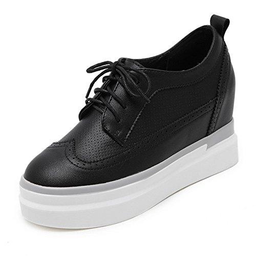 Oxfords Black Platform 1TO9 Microfiber Round Bandage Shoes Womens Toe wBxwzqYO