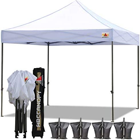 ABCCANOPY 18 Colors 8×8 Pop up Tent Instant Canopy Commercial Outdoor Canopy with Wheeled Carry Bag Bonus 4 Weight Bags White