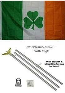 3x 53'x5' irlandés Shamrock bandera del trébol de Irlanda galvanizado Kit de pole Eagle Top