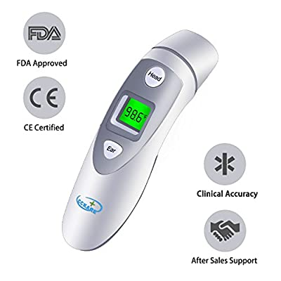 Medical Forehead and Ear Thermometer,Infrared Digital Thermometer, Accurate Temperature Suitable For Baby, Infant, Toddler and Adults, FDA and CE approved