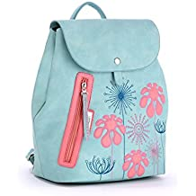 Alba Soboni Women Flower PU Leather Trend Embroidery School Ladies Backpack Travel Daily Bag