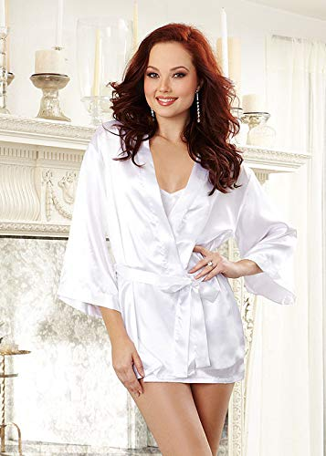 (Dreamgirl Women's Plus-Size Bridal Charmeuse Robe with Chemise and Padded Hanger, White, 3X/4X)