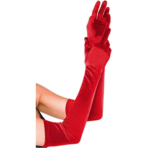 CHIC DIARY Long Satin Stretch Gloves Above Elbow Bridal Prom Wedding Formal Party Gloves (Red)