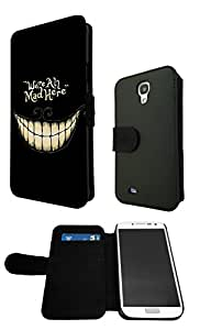 Cool Fun FunkY Funny WE ARE ALL MAD HERE 188 Samsung Galaxy S4 Mini Fashion Trend Full Case Book Style Flip cover Defender Credit Card Holder Pouch Case Cover iPhone Wallet Purse