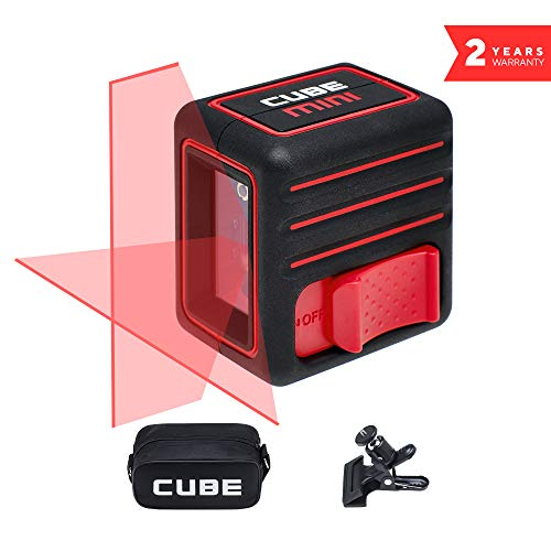 - Laser Level, ADA Cube Mini Home edition, Laser Level, 10 meters (32 feet), Black/Red, Crossline Self-Leveling Laser Level kit with Clamp, Carrying Pouch, batteries and manual included