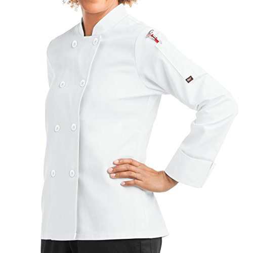 On The Line Women's Long Sleeve Chef Coat/Double Breasted/Plastic Button Reversible Front Closure (S-XL, 2 Colors) (Large, White)