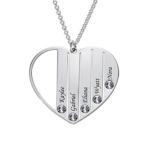 Prsonalized Birthstone Mom Heart Necklace -Custom Made Jewelry Sterling Silver