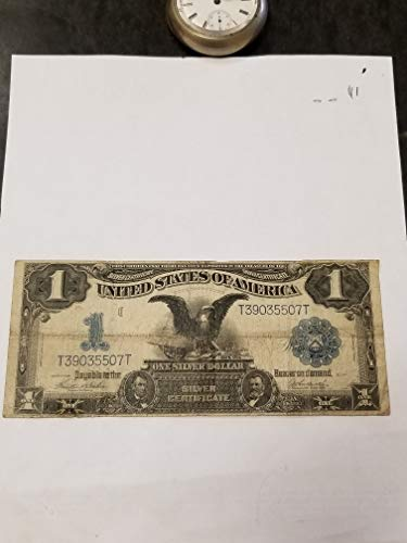 - 1899 $1 LARGE SILVER CERTIFICATE BLACK EAGLE-NICE &AFFORDABLE-GREAT SPANISH AMERICAN WAR NOTE-VERN'S CARD & COIN $1 Vg