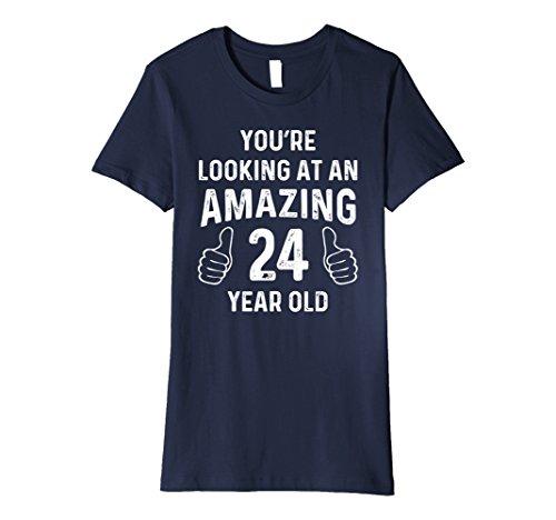 Womens Amazing 24th Birthday Gift Funny 24 Year Old Bday T Shirt XL Navy