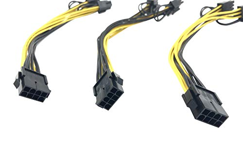 8 Pin to 2 x PCIe 8 (6+2) pin Graphics Card PCI-e Express VGA Splitter Power Extension Cable (3 Pack) by Block Erupter (Image #1)