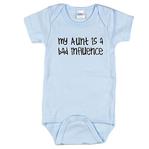 (Texas Tees My Aunt is A Bad Influence Bodysuit, Best Aunt Bodysuit, Bodysuit for Boys, Blue 3-6 m)
